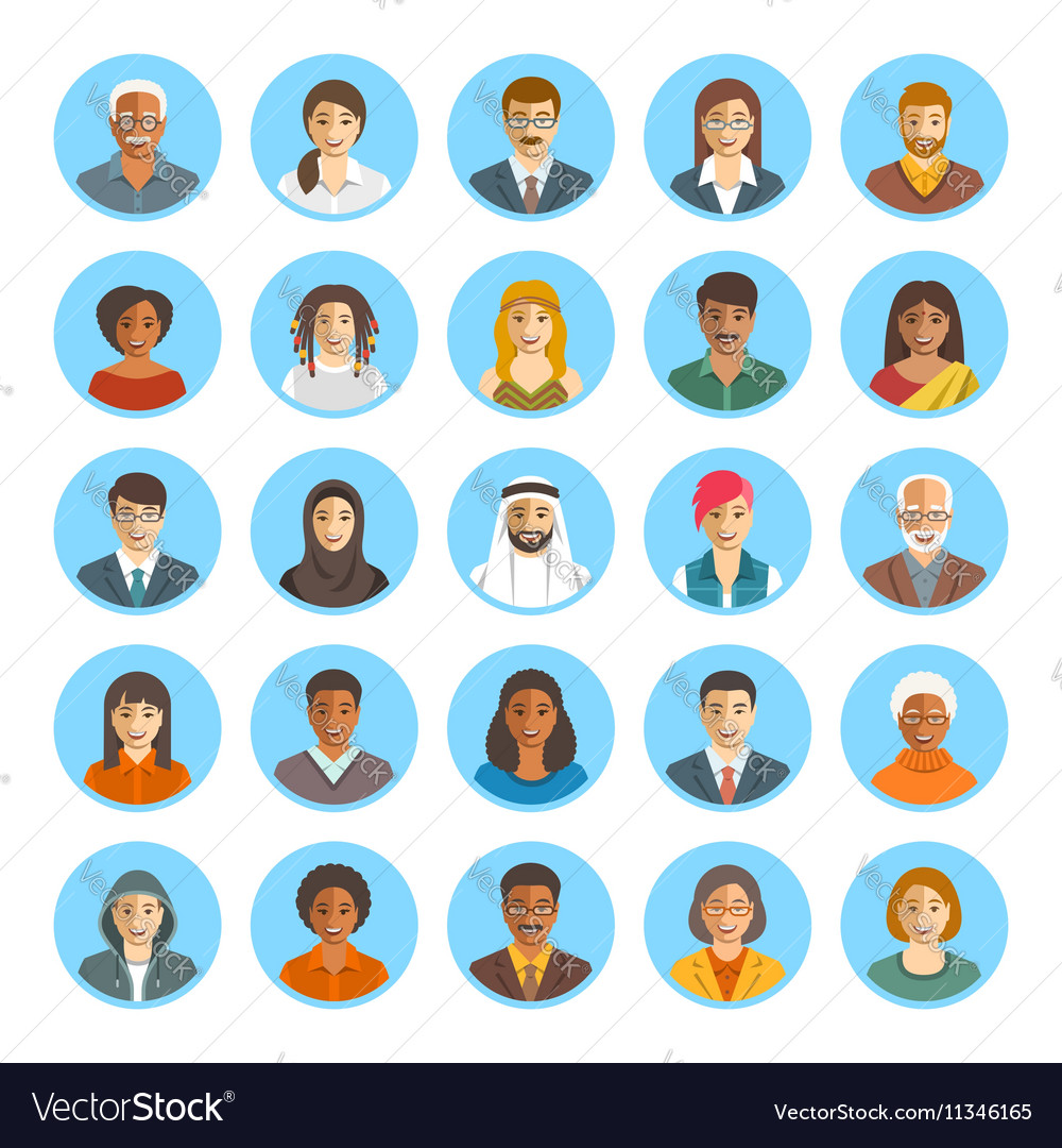 People faces avatars flat icons