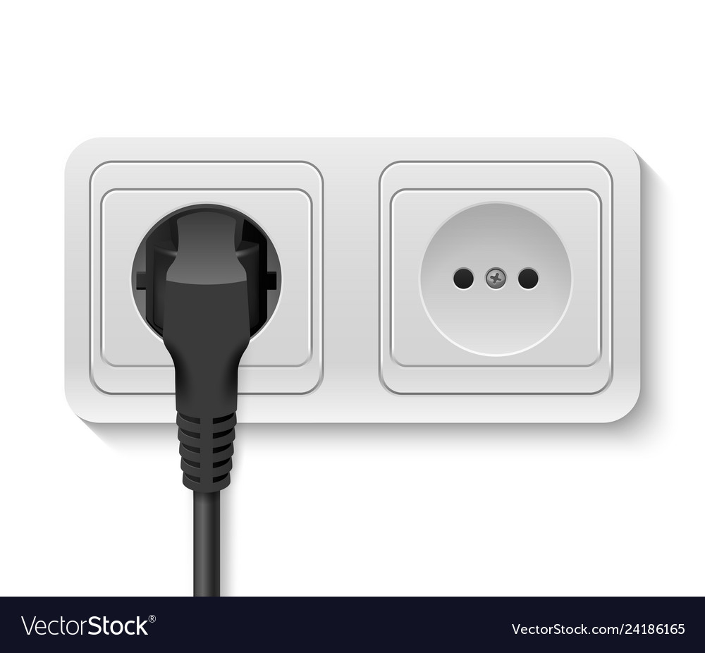 Realistic 3d black plug inserted in a wall
