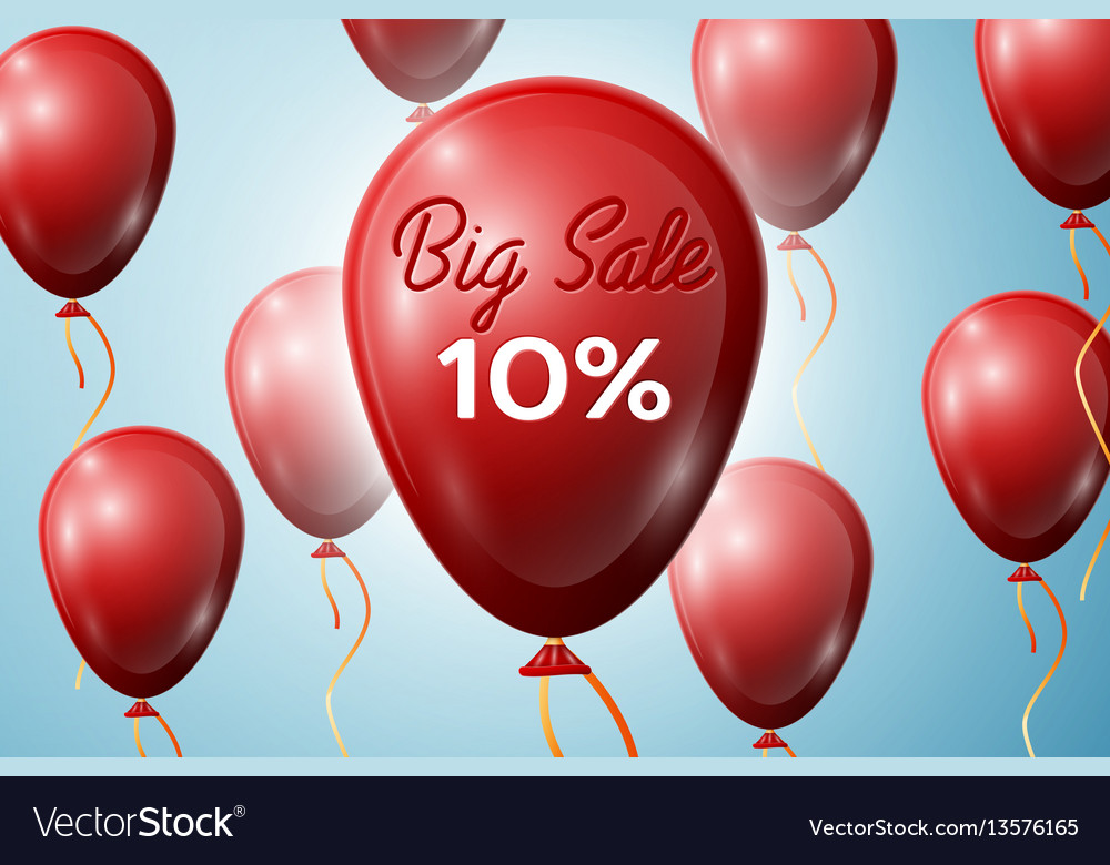 Red balloons with an inscription big sale ten vector image