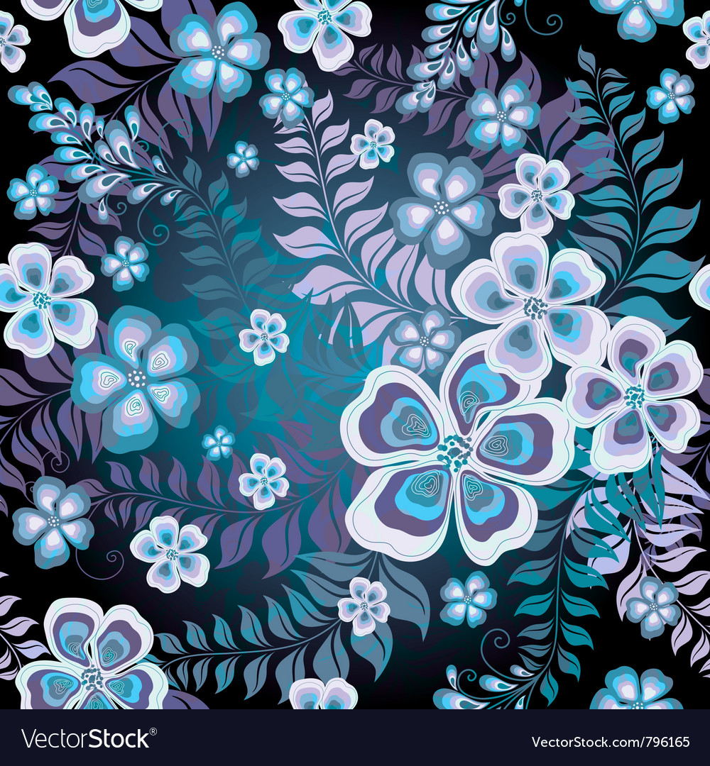 Seamless black and white-blue floral pattern