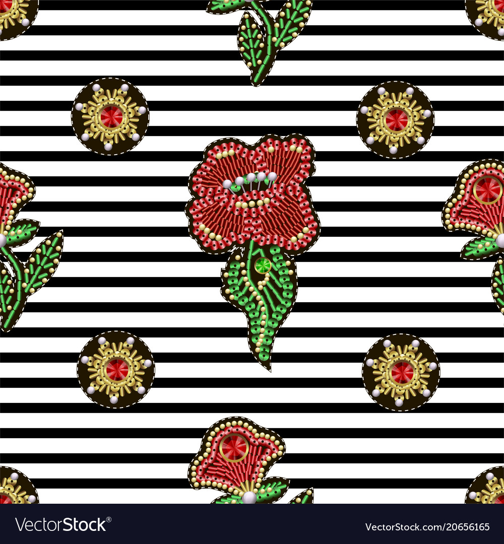 Seamless pattern with textile patches flowers
