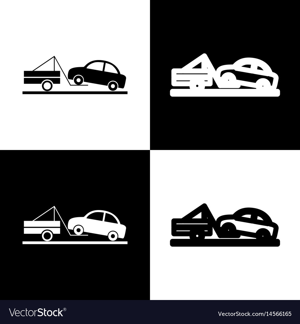 Tow truck sign black and white icons and