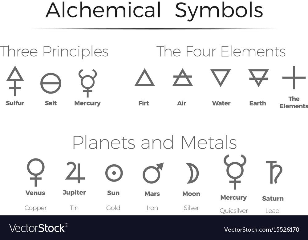 Alchemical Symbols Icons Set Royalty Free Vector Image