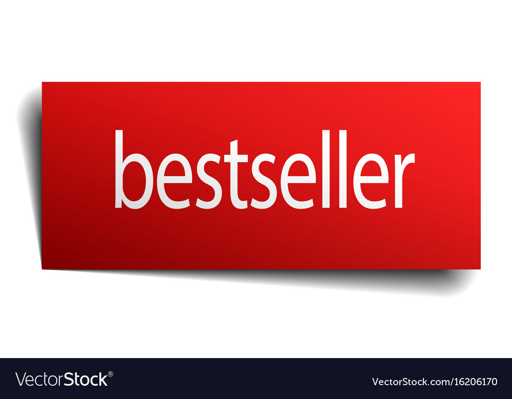 Bestseller red paper sign isolated on white