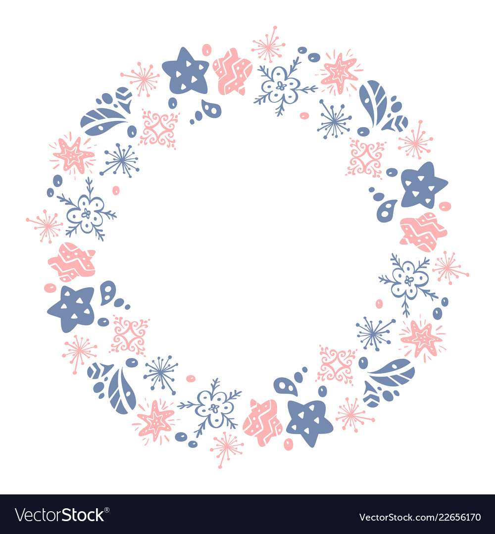 Christmas hand drawn wreath pink and blue floral