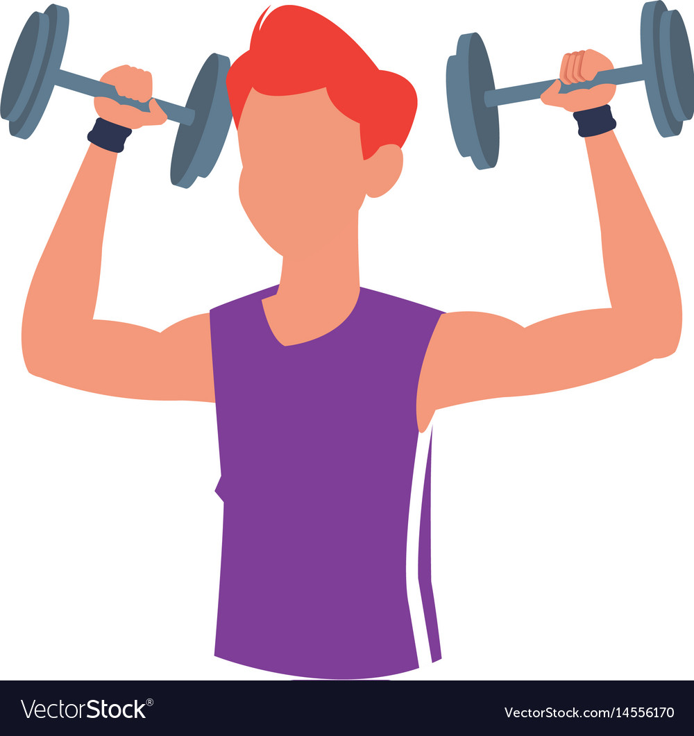 Fitness man dumbbell body gym vector image
