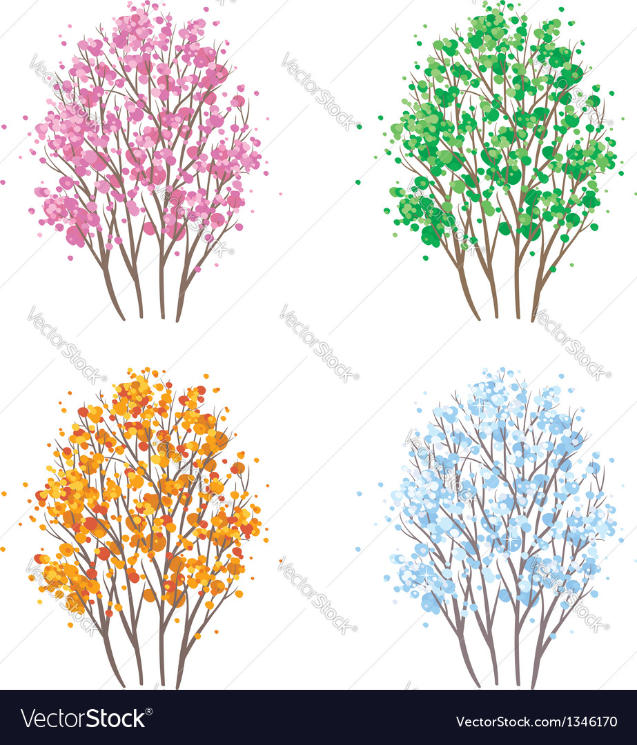 Four seasons tree vector image