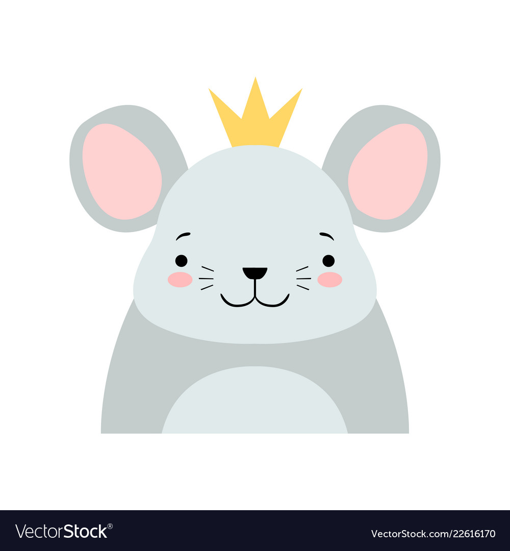 Funny grey mouse in golden crown cute cartoon