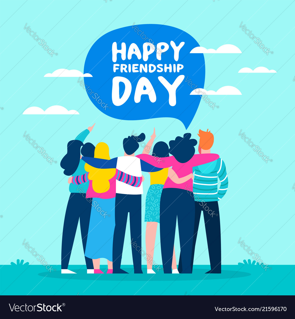 Happy friendship day card of friend group