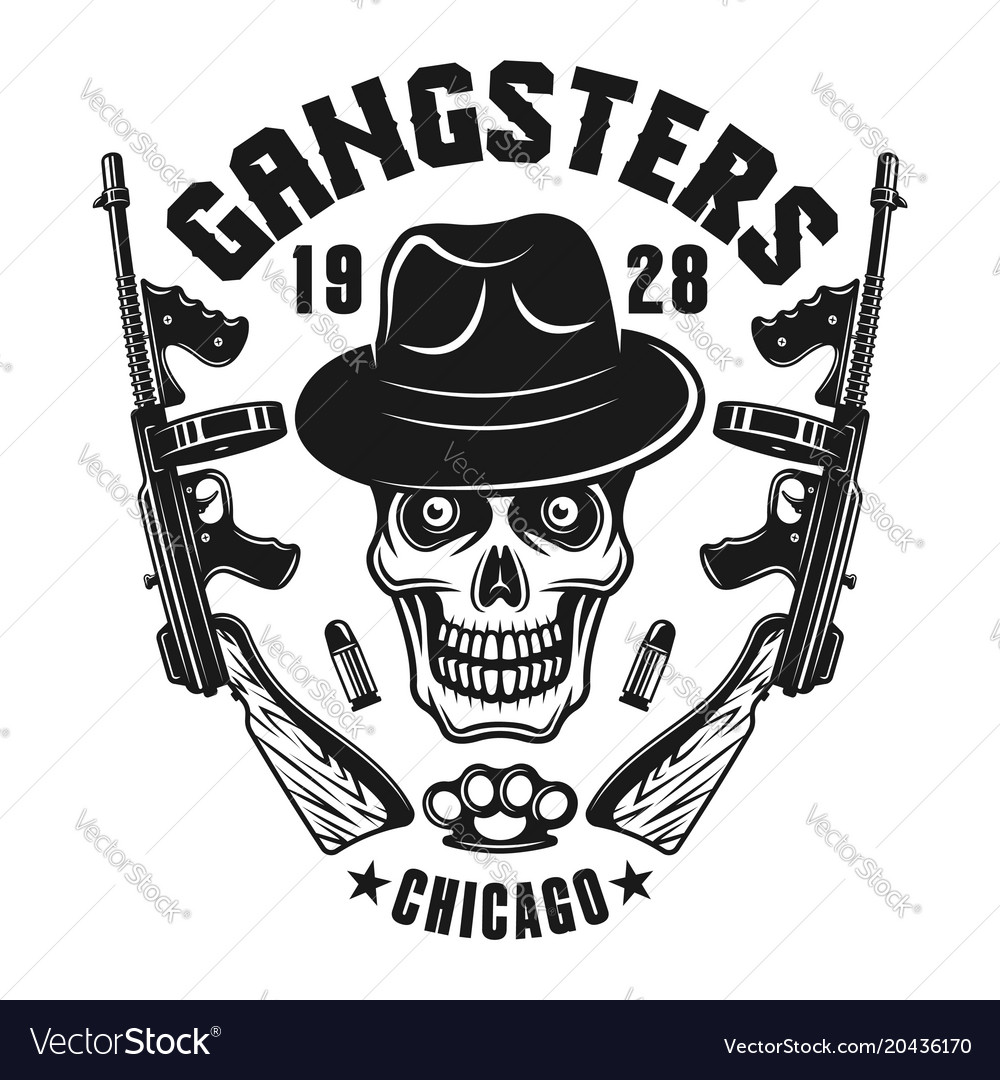 Mafia Emblem Gangster Skull In Hat With Two Guns Vector Image
