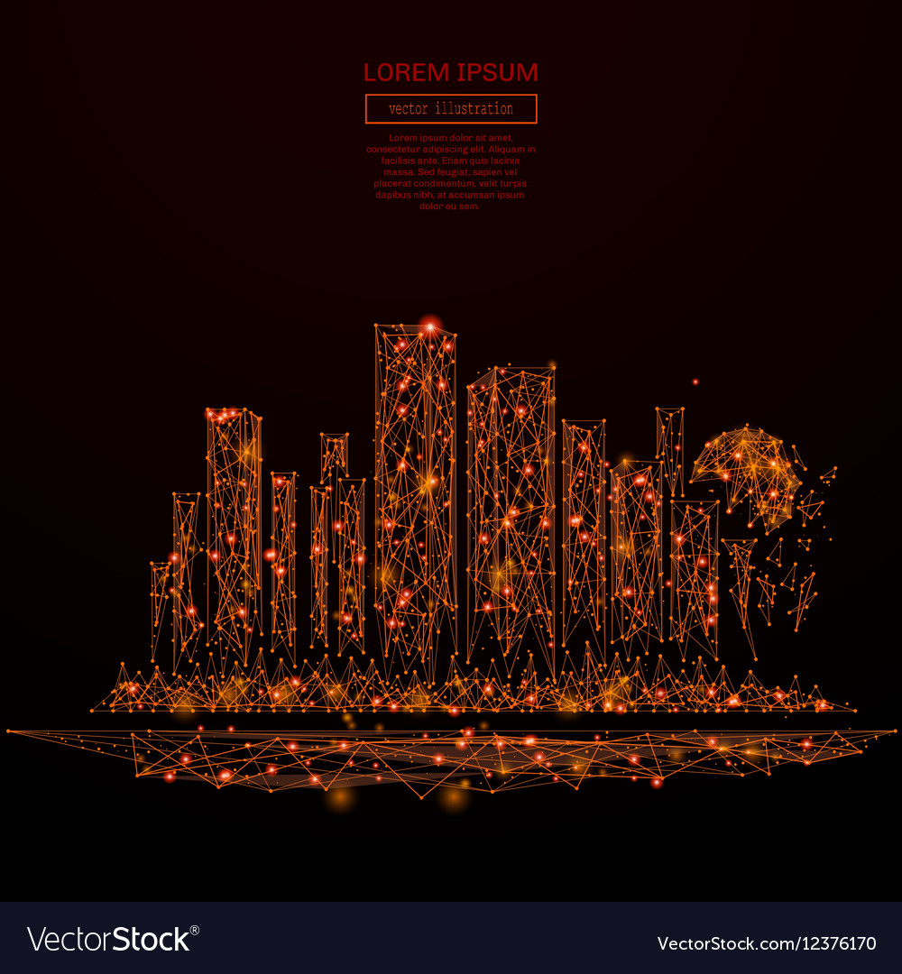 Megalopolis low poly red fire
