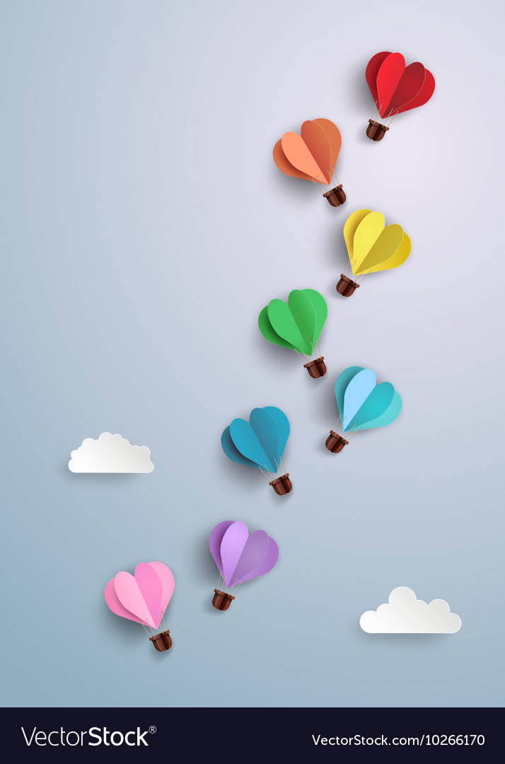 Origami made hot air balloon vector image