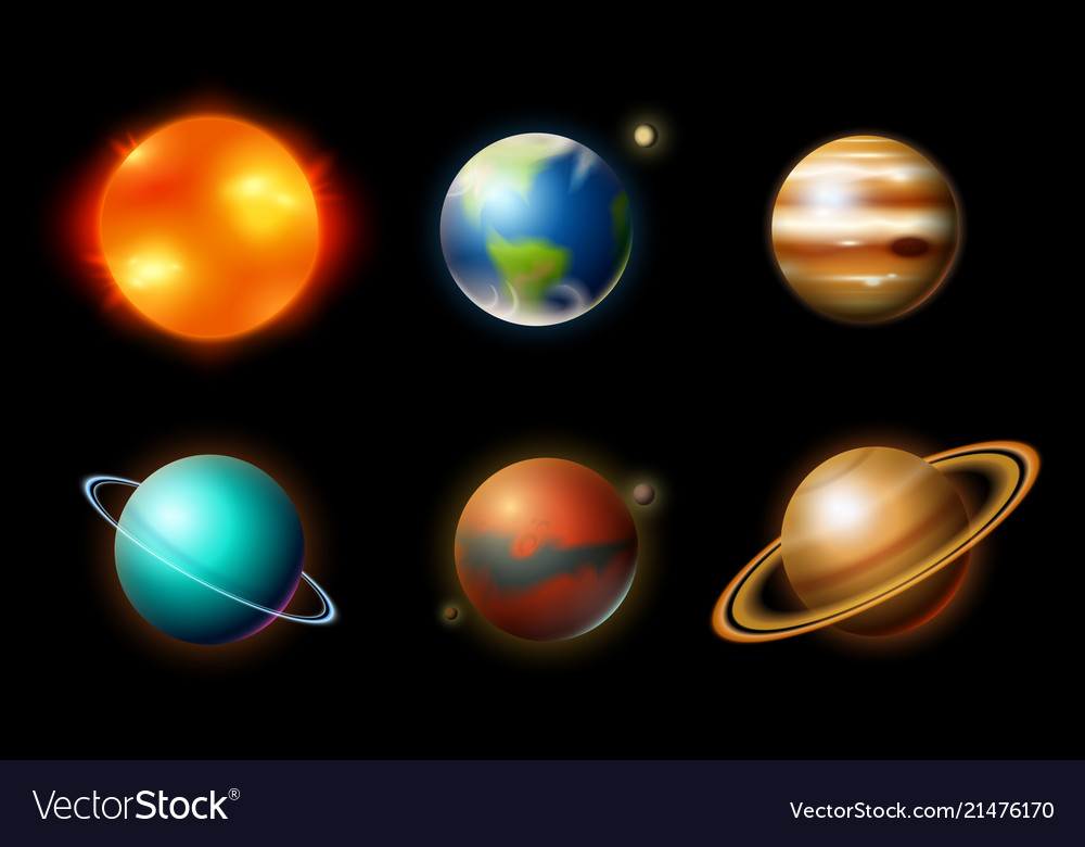 Planets in solar system astronomical galaxy