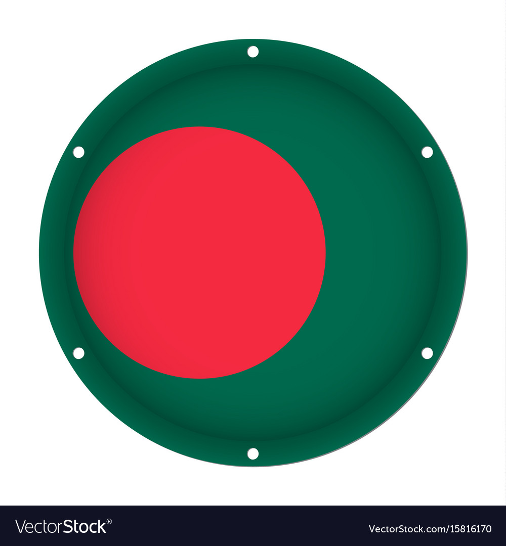 Round metallic flag of bangladesh with screw holes vector image