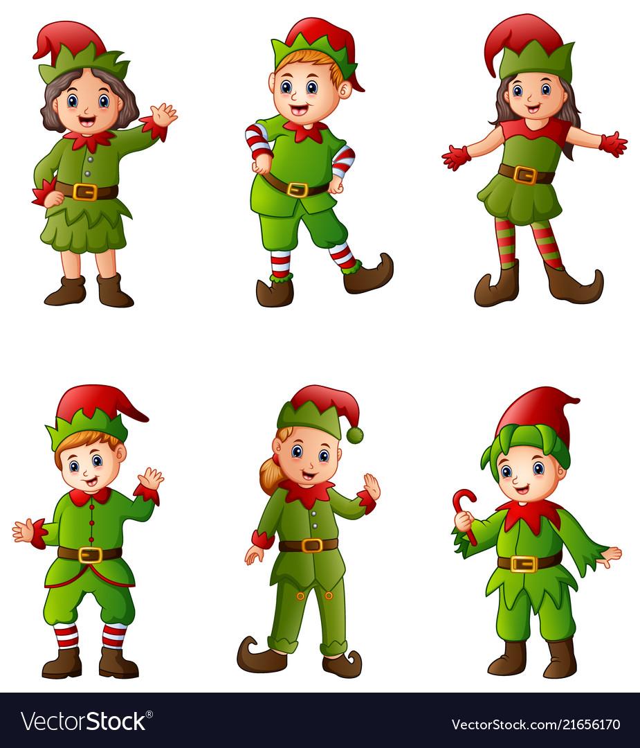 Set of cartoon christmas elves isolated white back