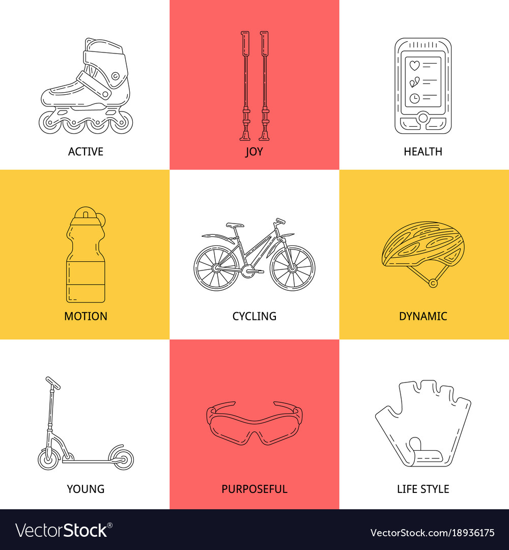 Active lifestyle outline icon set