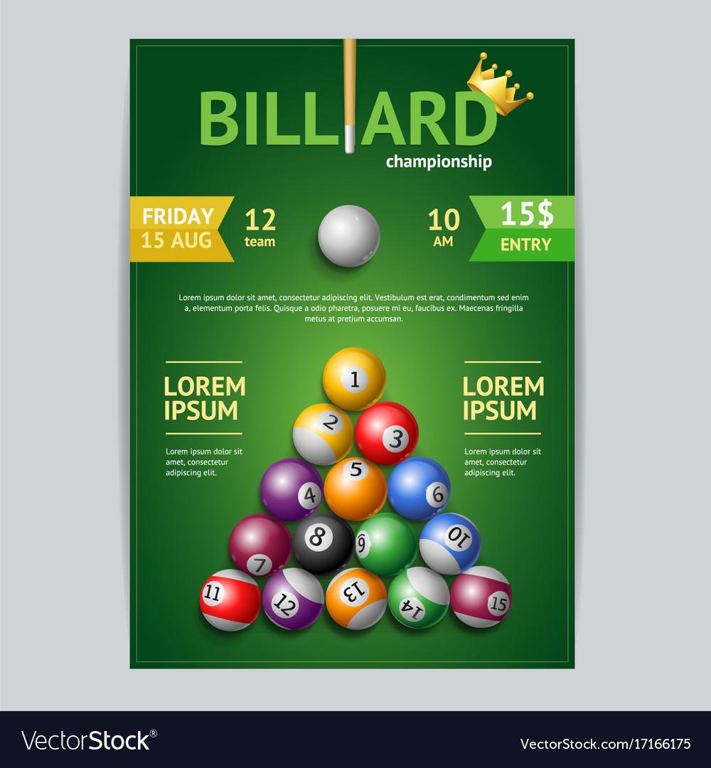 Billiard Tournament Poster Card Template