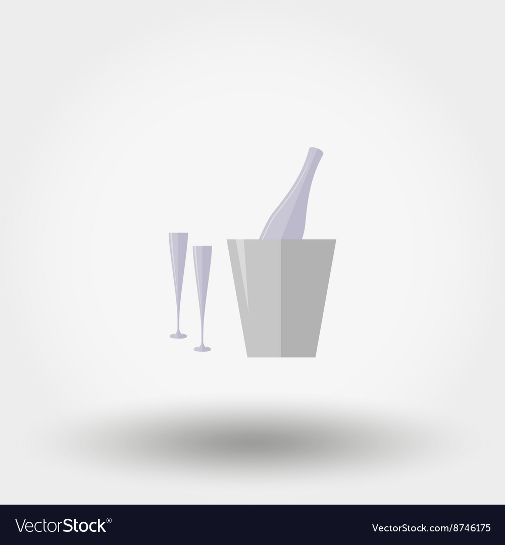 Bottle in ice bucket and two glasses Icon
