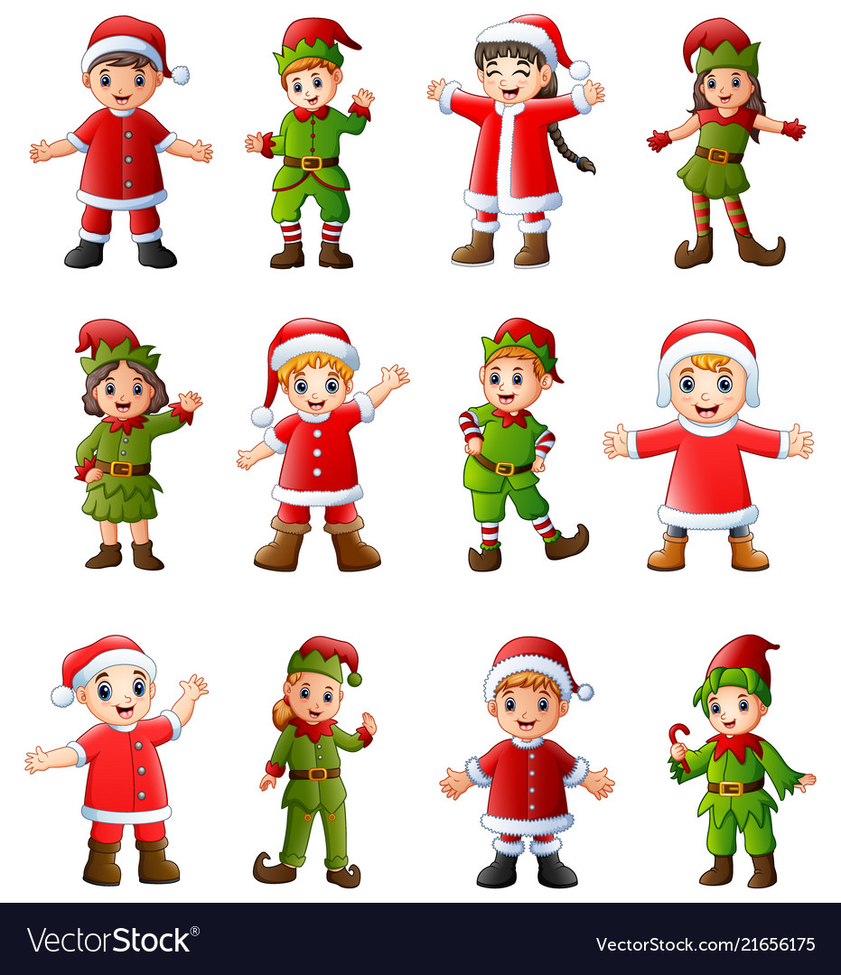 Collection of cartoon santa claus kids and elves i