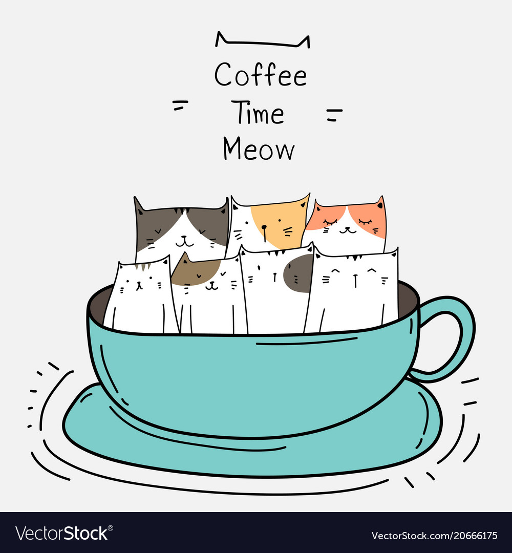 Cute cats in the cup vector image
