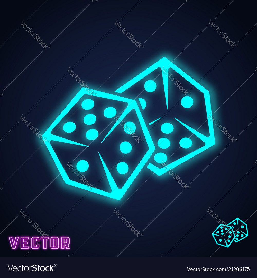 Dice games icon two game dices neon light design