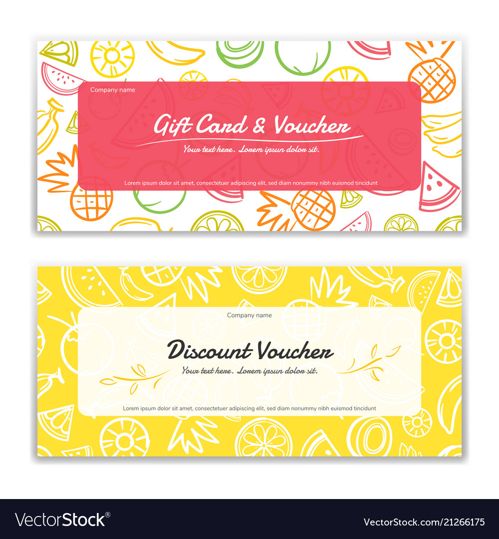 fruit theme gift certificate voucher gift card vector image