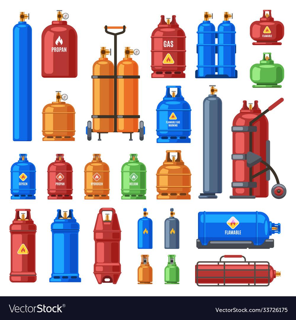 Gas cylinders propane oxygen and butane metal