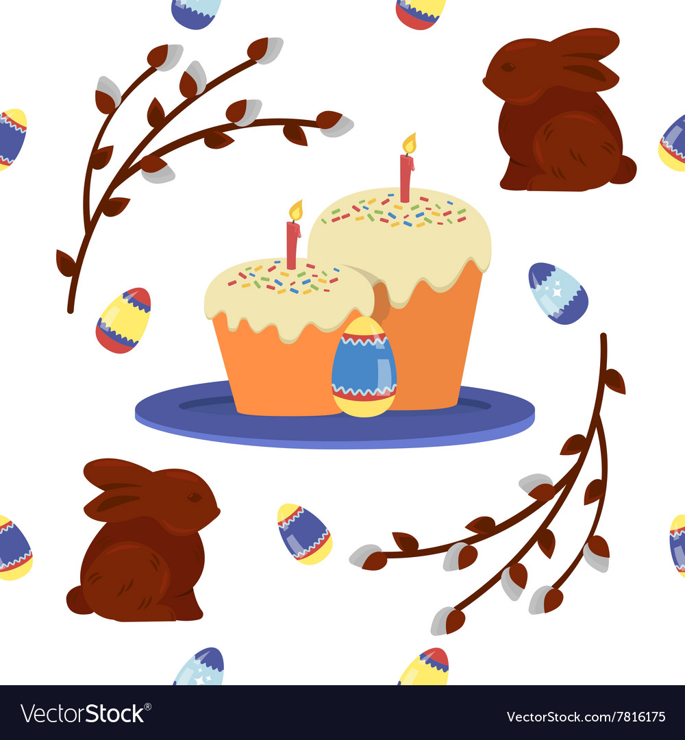 Happy Easter Seamless Pattern with Cake Eggs