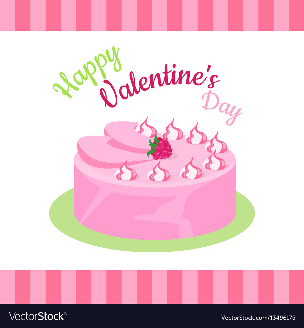 Enjoyable Happy Valentines Day Cake With Strawberries Vector Image Funny Birthday Cards Online Elaedamsfinfo