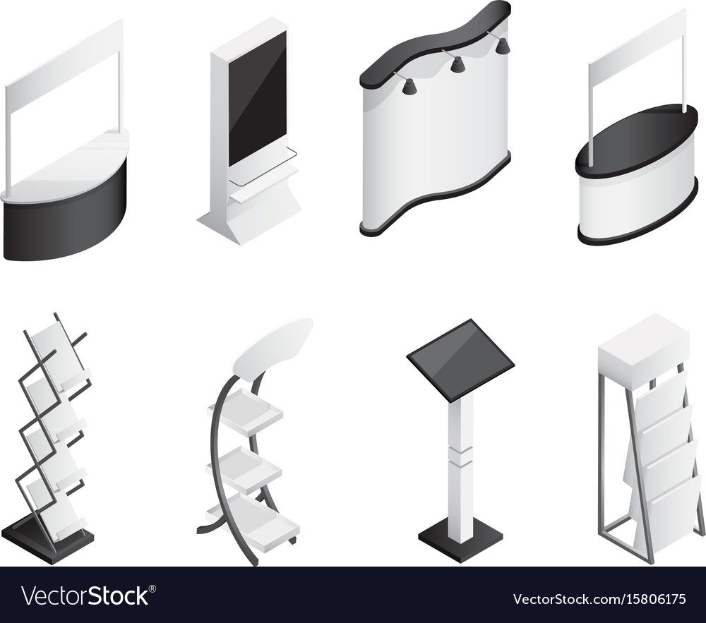 Isometric gradient exhibition stands icons set