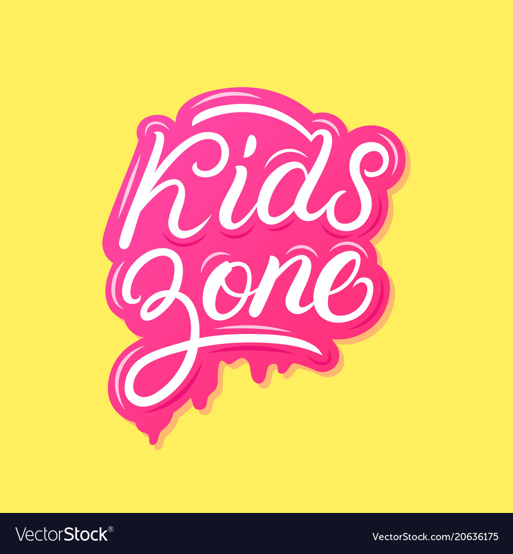 Kids zone hand written lettering