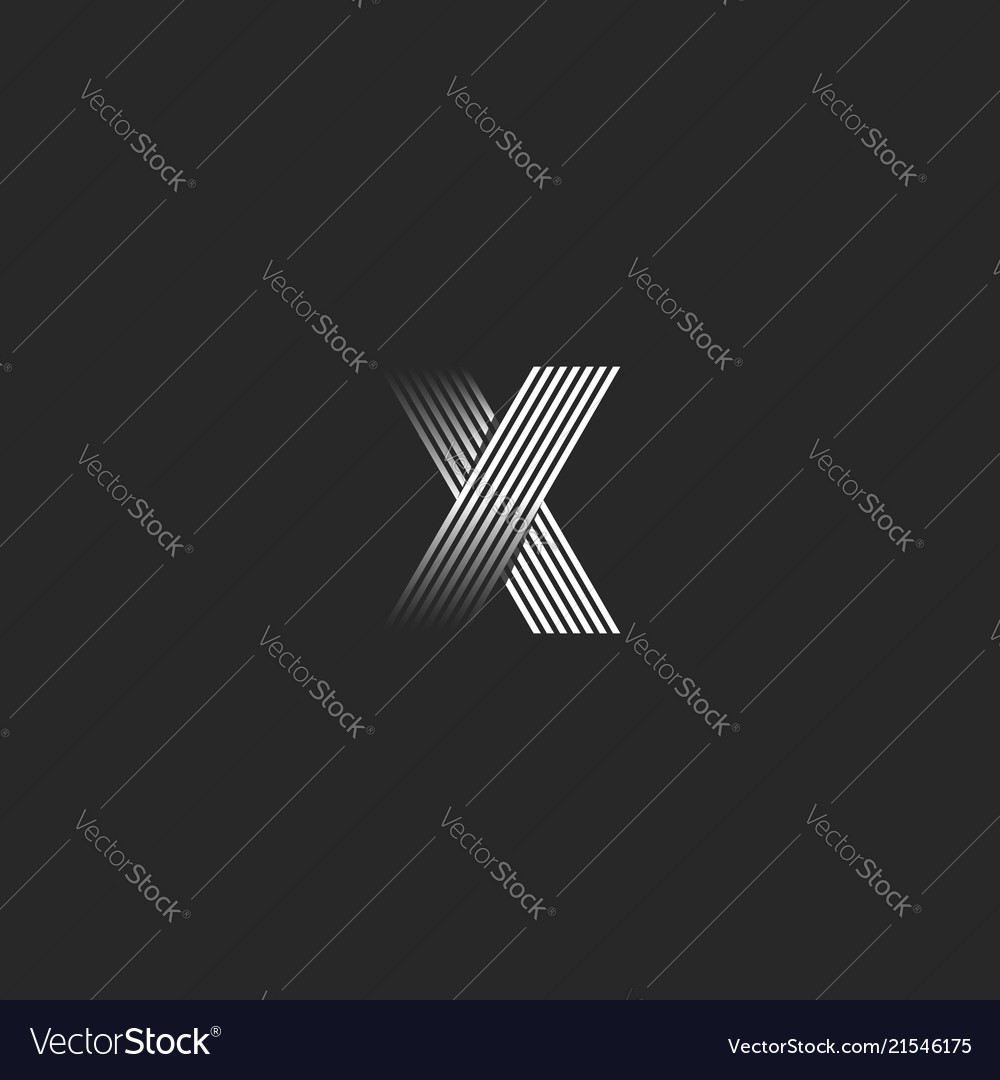 Letter x logo black and white lines gradient tech