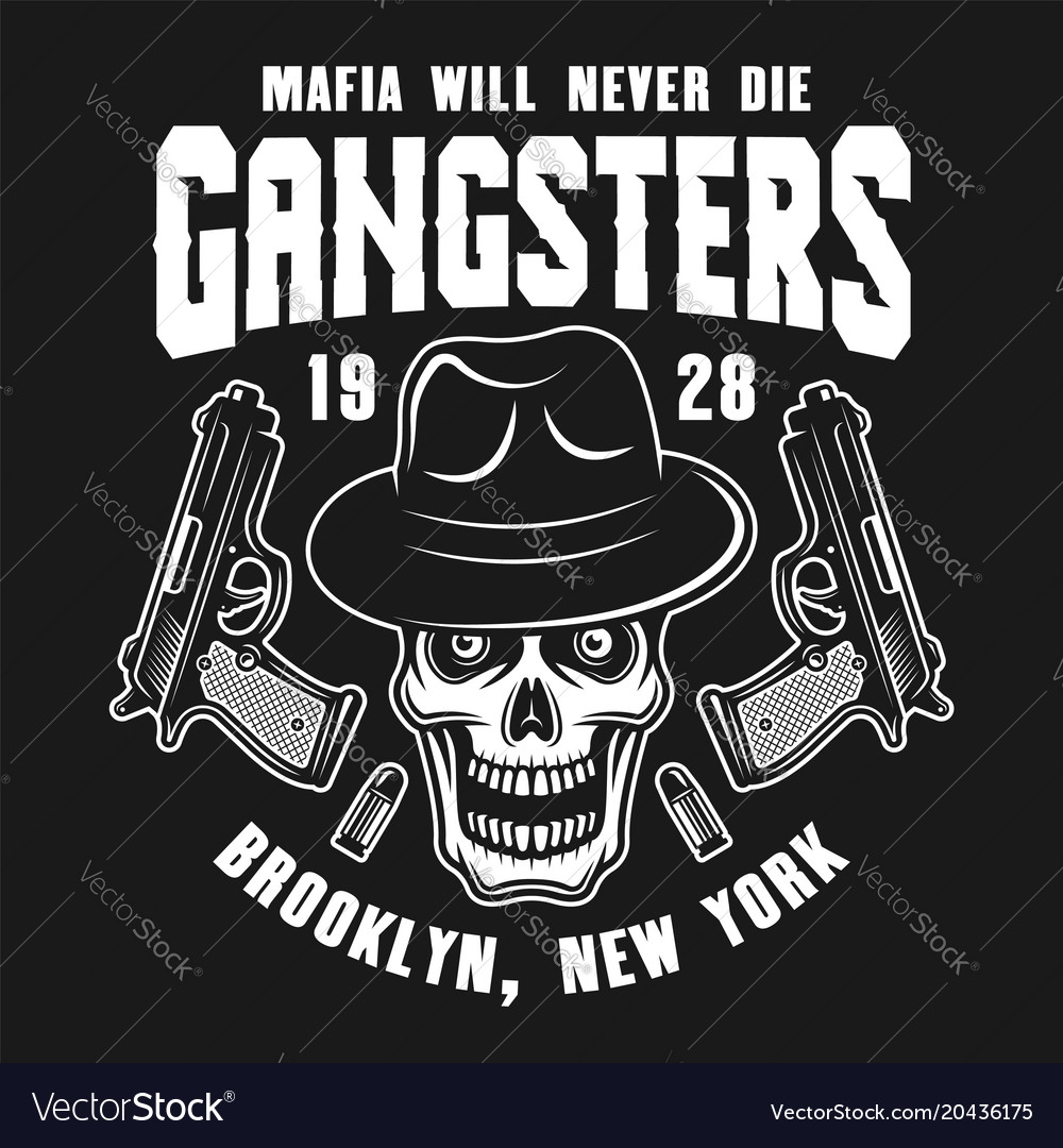 Mafia emblem with gangster skull in fedora hat
