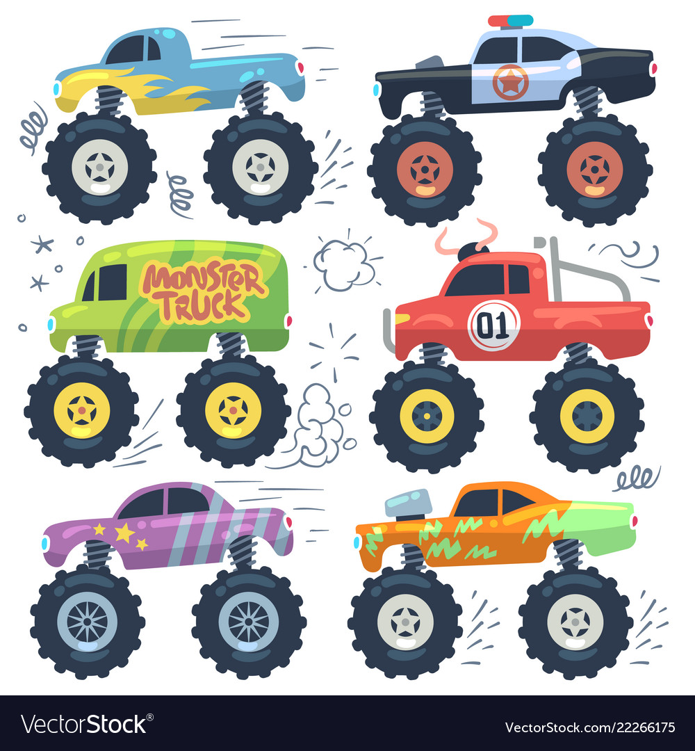 Monster cars cartoon cars with big wheels