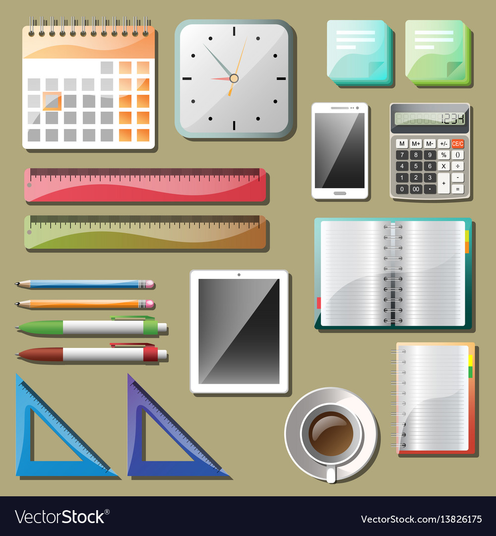 Office tools and devices set vector image