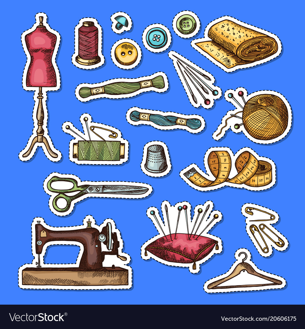 Set hand drawn sewing elements stickers