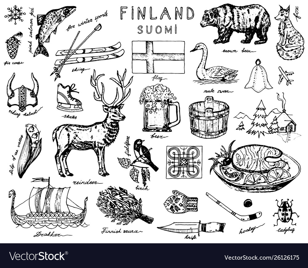 Symbols finland in vintage style doodle sketch