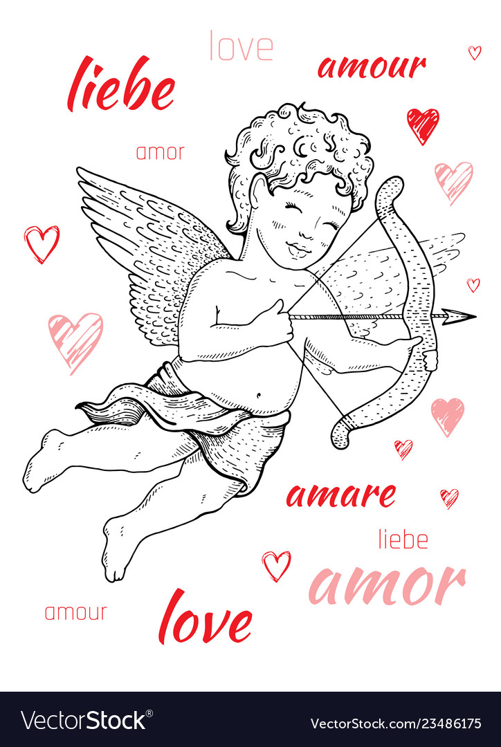 Valentine s day card design with cupid angel word