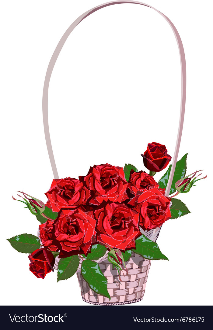 Wicker floral basket with red roses vector image