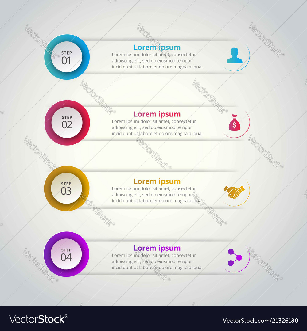 4 steps of infographic with blue red yellow and