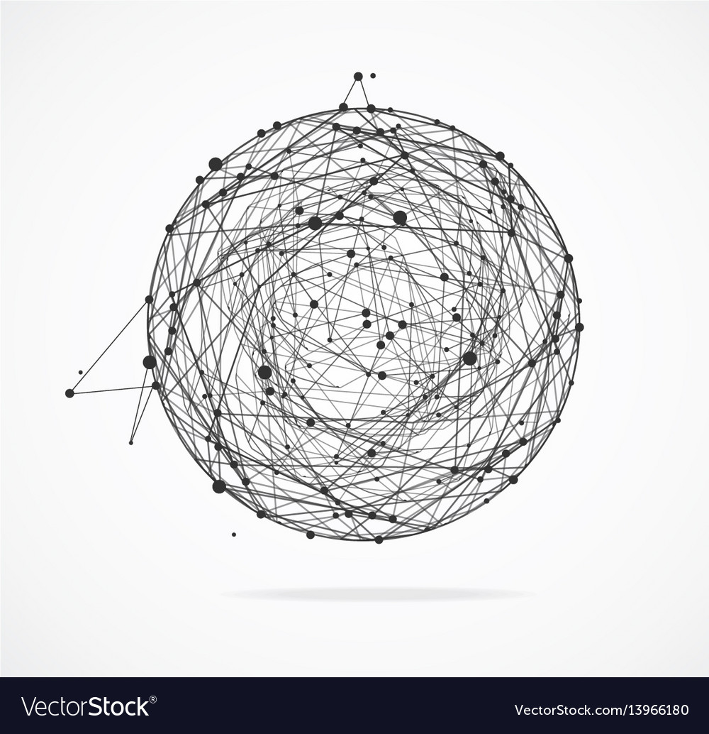 Abstract geometric sphere with points and lines vector image