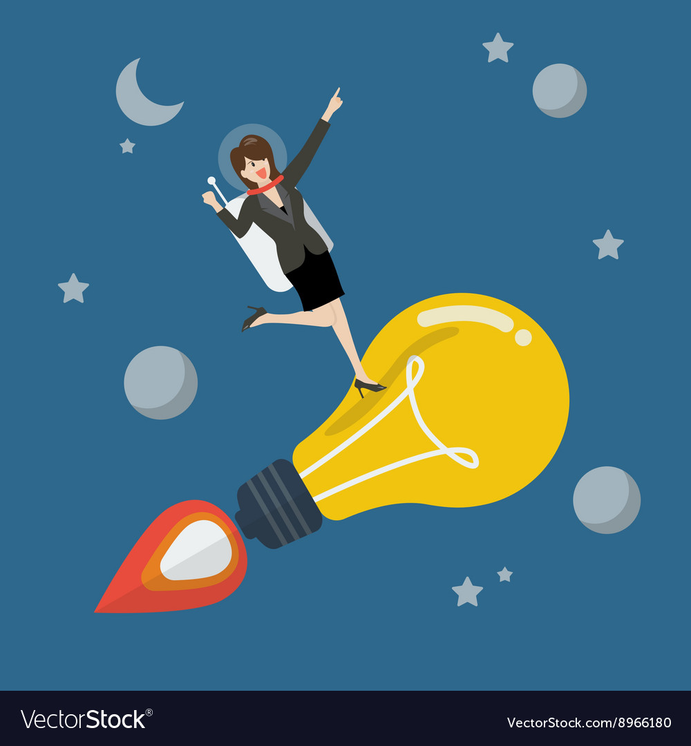 Business woman astronaut on a moving lightbulb