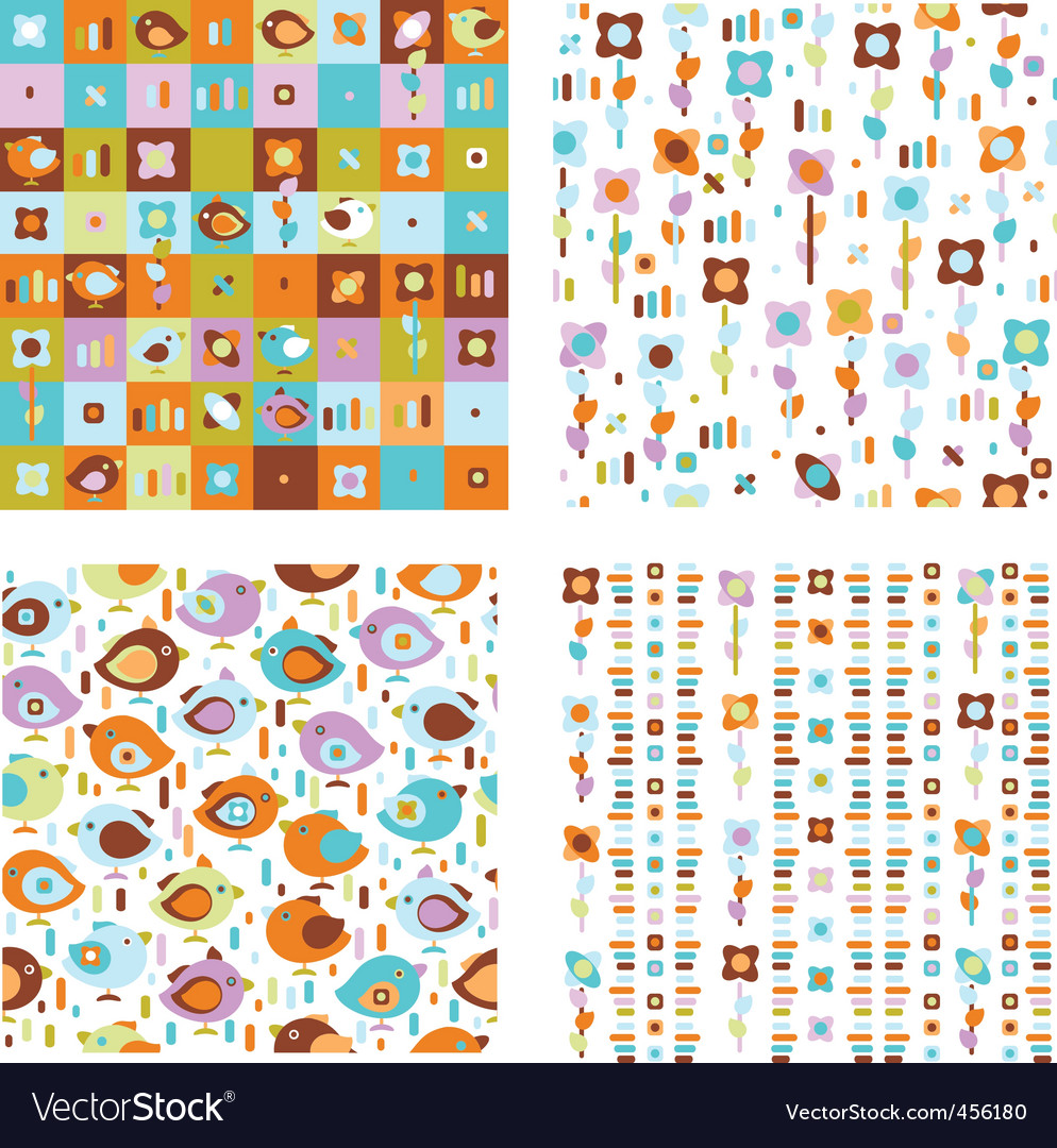 Cute spring patterns vector image