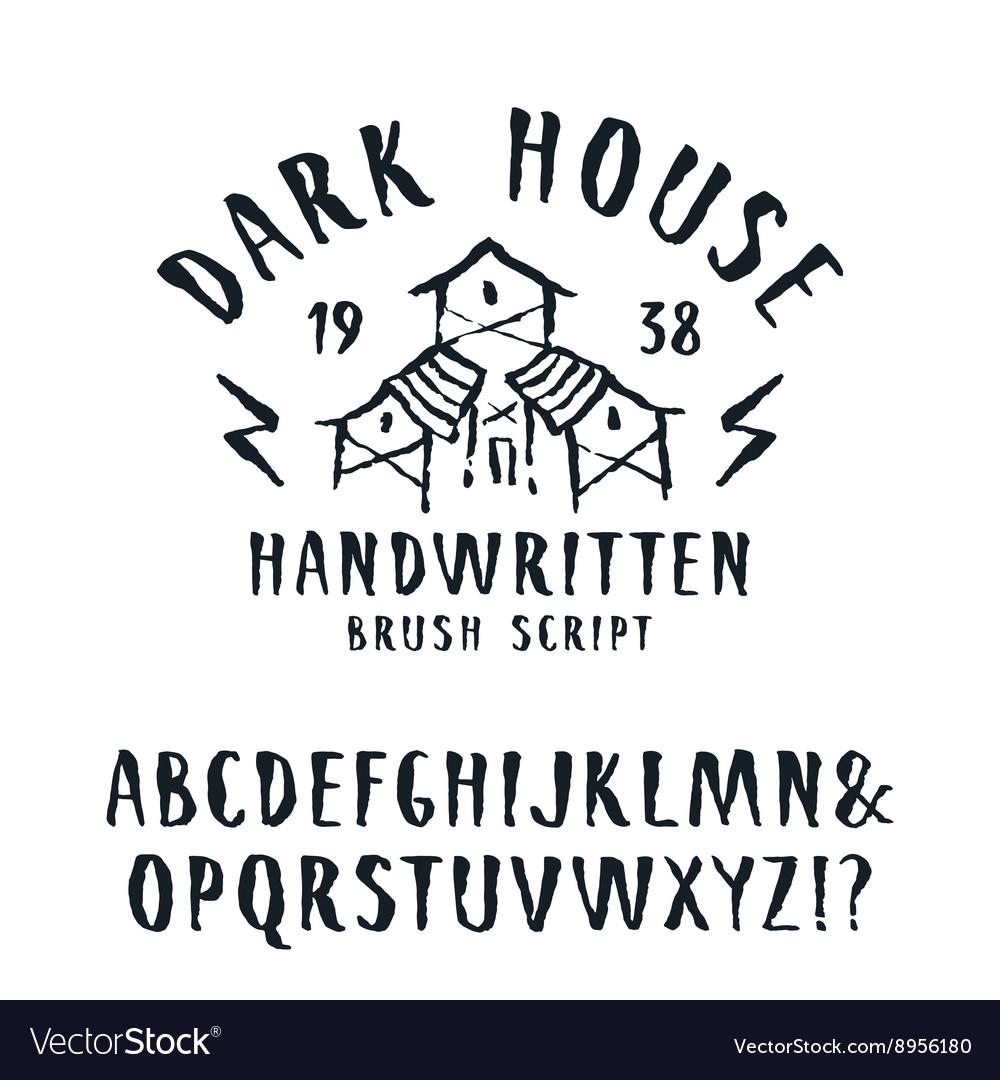 Handwritten brush font in horror style vector image