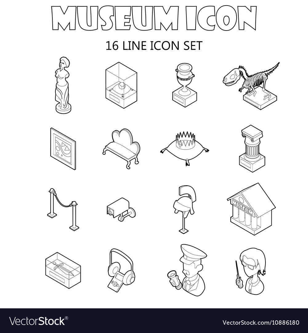 Museum icons setoutline style vector image