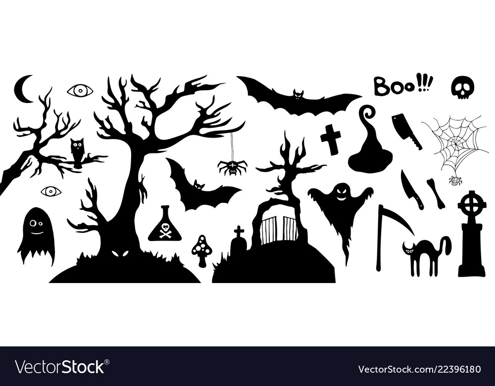 Halloween Vector Black And White.Set Of Silhouette Horror Images Of A Halloween