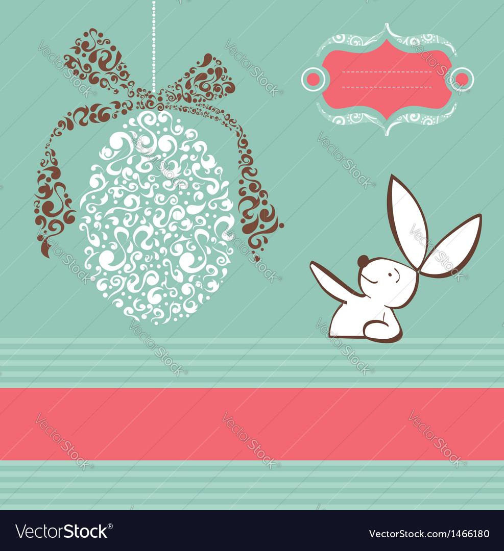 Tribal egg Easter bunny background vector image