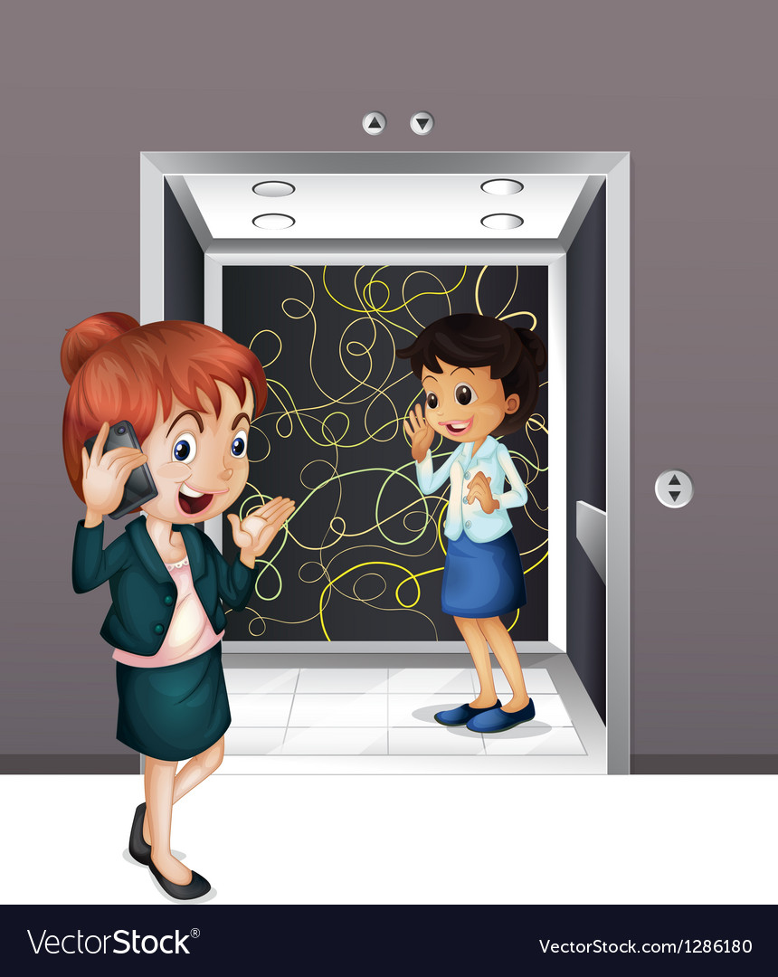 Two girls at the elevator vector image