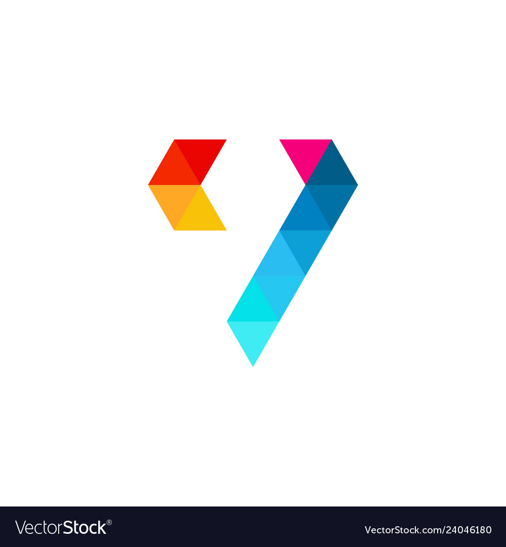 V letter colorful triangle logo icon