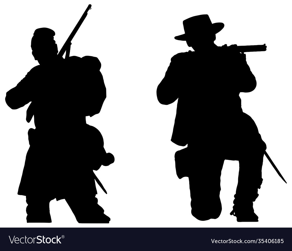 American civil war soldiers silhouettes